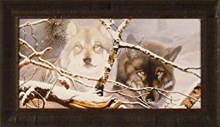 Home Cabin Décor Eyes in The Mist by Daniel Pierce 16x28 Wolf Wolves Winter Snow Framed Wildlife Art Print Picture