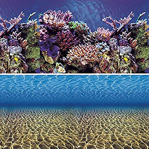 Vepotek Aquarium Background Ocean Seabed /Coral Reef Double sides (36WX24H)