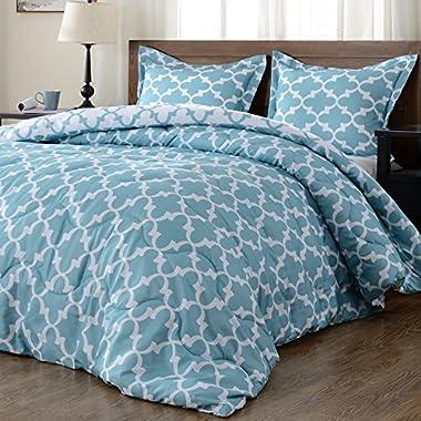 downluxe Lightweight Printed Comforter Set (Queen,Teal) with 2 Pillow Shams - 3-Piece Set - Hypoallergenic Down Alternative Reversible Comforter