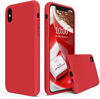 SURPHY Silicone Case for iPhone Xs Max Case, Soft Liquid Silicone Shockproof Phone Case (with Microfiber Lining) Compatible with iPhone Xs Max (2018) 6.5 inches (Red)