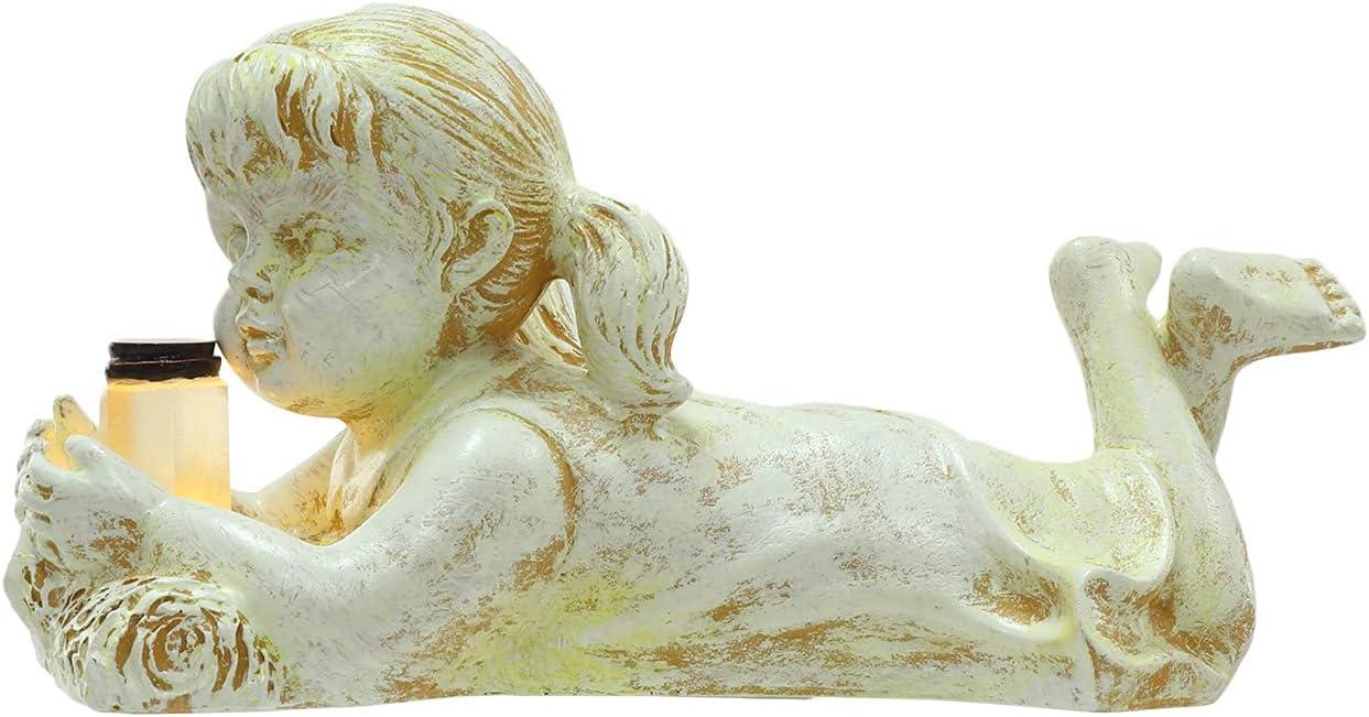 Garden Sculptures & Statues, Children Solar Lighted Firefly Jar, Outdoor Decorative Garden Statues, Boy Girl Statue Sculpture Decor (Girl)