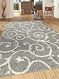 Cozy Contemporary Scroll L.Grey-White 5'3' x 7'3' Indoor Shag Area Rug
