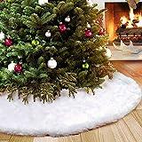 Aparty4u Gonne per Alberi di Natale 122cm, Finta Pelliccia Pannello Esterno dell'albero di Natale di Bianco Natale per Decorazioni Natalizie
