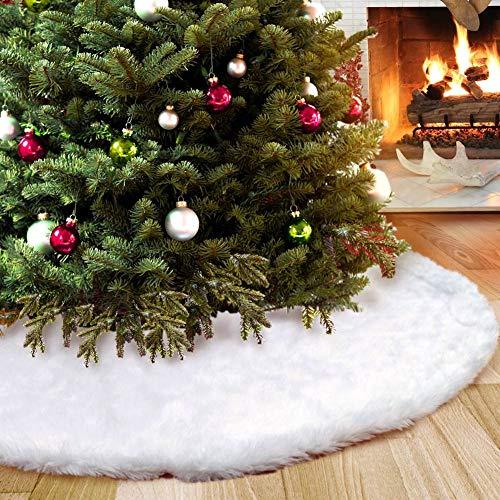 Aparty4u Runde Filz-Baumdecke - Weißer Baum Rock Faux Pelz Weihnachtsbaum Rock Weiß-Schnee-Weihnachtsthema-Verzierung 122cm
