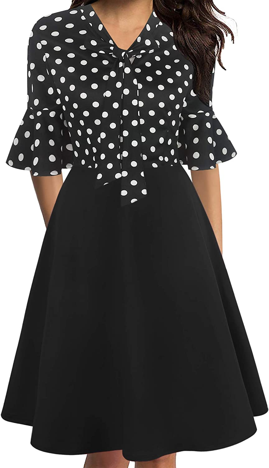 oxiuly Women's Vintage Bow Tie V-Neck Flare Sleeve Midi Casual A-Line Dress OX305