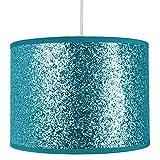 Colgante/lámpara de tela brillante y moderno, de color verde azulado brillante, pantalla de 25 cm de ancho por Happy Homewares