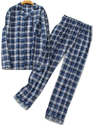 Pijamas Hombre Invierno Algodon 2 Piezas Calentito Pijama Hombre Otoño Algodón,Suave,Cómodo