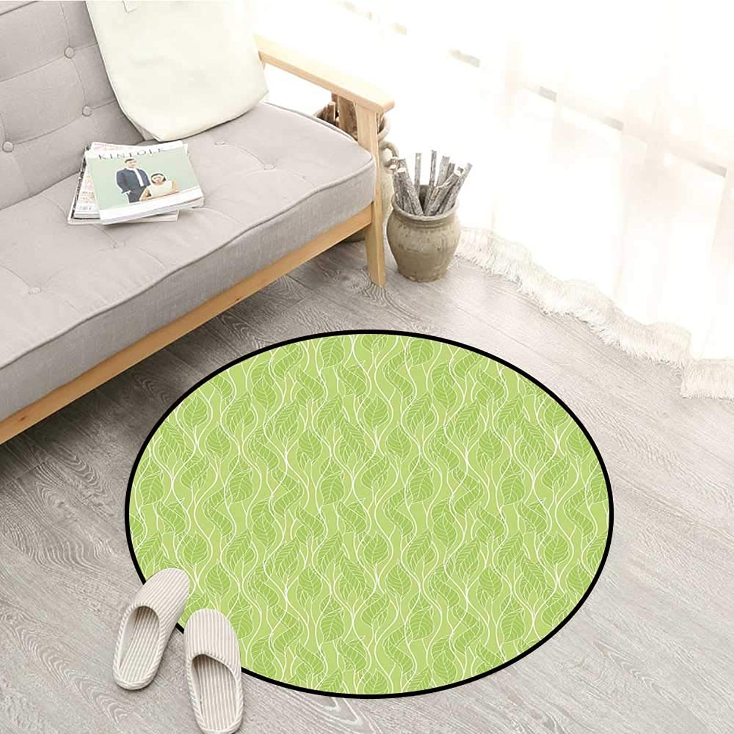 Leaves Carpets Stylized Green Leaves with Curvy Twigs Botanical Natural Forest Inspiration Sofa Coffee Table Mat 4'3  Pale Green White