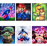 6 Pack 5D DIY Diamond Painting Kits for Adults, Full Drill Round Crystal Rhinestone Diamond Arts Craft Canvas Perfect for Home Wall Decoration and Relaxation(Cartoon 12x12inch)