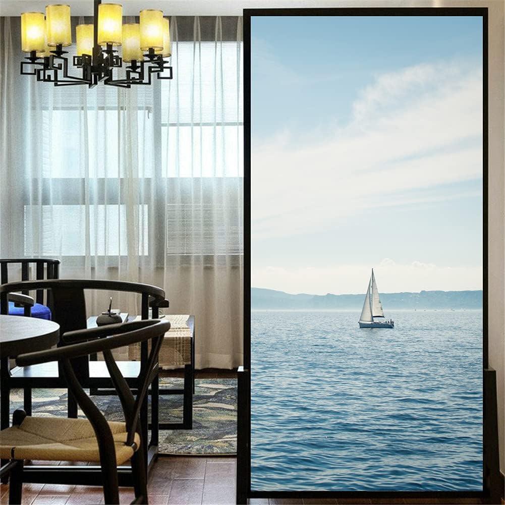 LXDWEI Privacy Window Film Lone Miami Mall Superior Ship and Sea Non-Adhesive