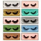 ALICROWN 10 Styles False Eyelashes Natural Look Lashes Pack 3D Fake Lashes Wholesale with 10 Portable Box