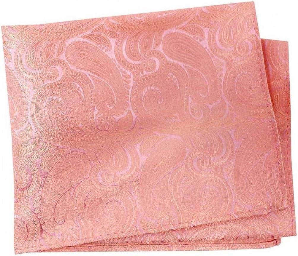 David Van Hagen Mens Paisley Luxury Silk Handkerchief - Pink