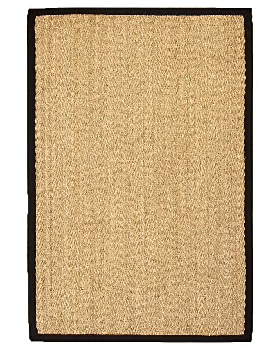 NaturalAreaRugs Four Seasons Collection Seagrass Area Rug, Handmade, 100% Seagrass, Non-Slip Latex Back, Durable, Stain Resistant, Eco-Friendly, (4 Feet x 6 Feet) Black Border