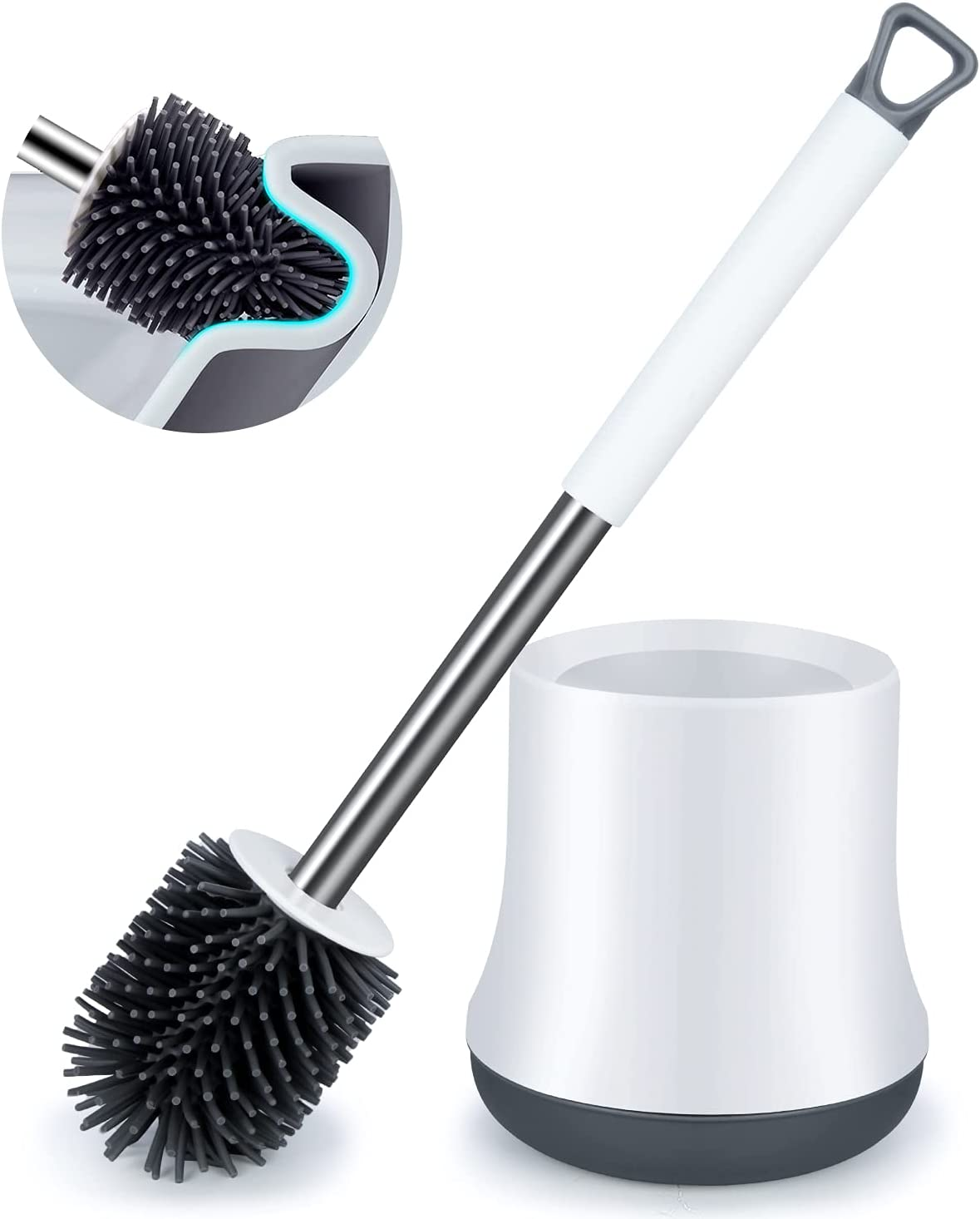 Silicone Same day shipping Toilet Bowl Brush and ENSPOWAY Set Low price Bathroom Toi Holder