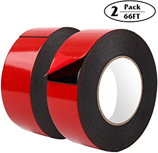 2 Rolls Foam Double-Sided Adhesive Mounting Tape, Foam Seal Strip, 2 Inches × 66 Feet, Black, Outdoor and Indoor, for Photo Frame, Automotive Mounting