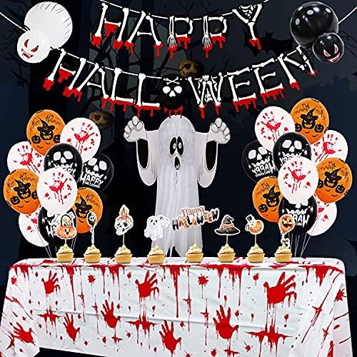 Kit de Decoraciones de Halloween, 39 Piezas Fiesta Temática de Decoraciones de Halloween, Banners de Halloween, Globos de Halloween, Mantel Sangriento,Para Halloween,Bar Halloween Decoracion Mesa,