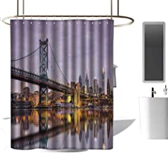 Shower Curtains Turtle Apartment Decor Collection,Ben Franklin Bridge and Philadelphia Skyline Under Sunsets Reflections on Water Image,Gray Ivory,W108 x L72,Shower Curtain for Small Shower stall