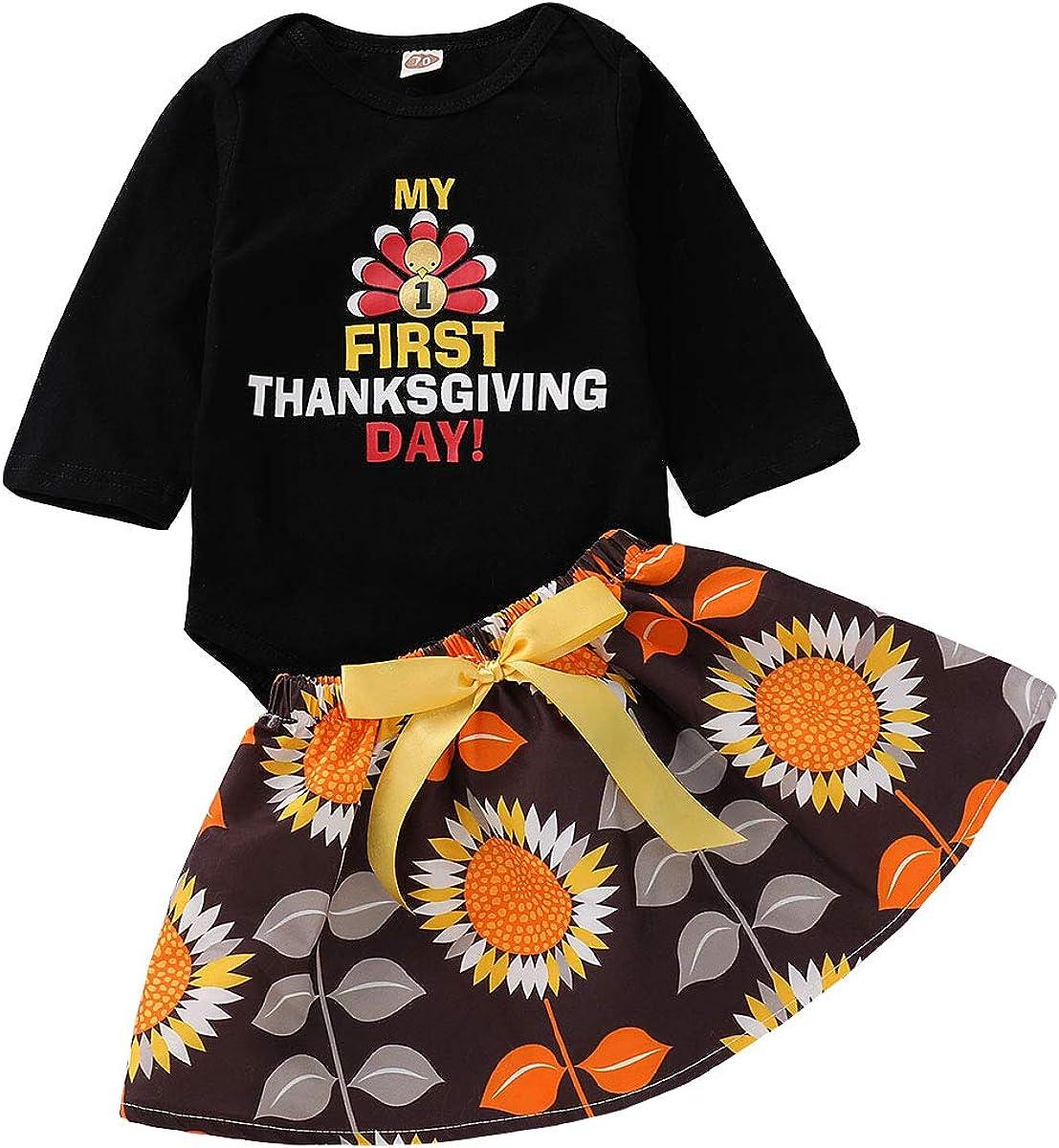 Thankgiving Baby Girl Skirt Set My 1st Turkey Day Romper Top Tut