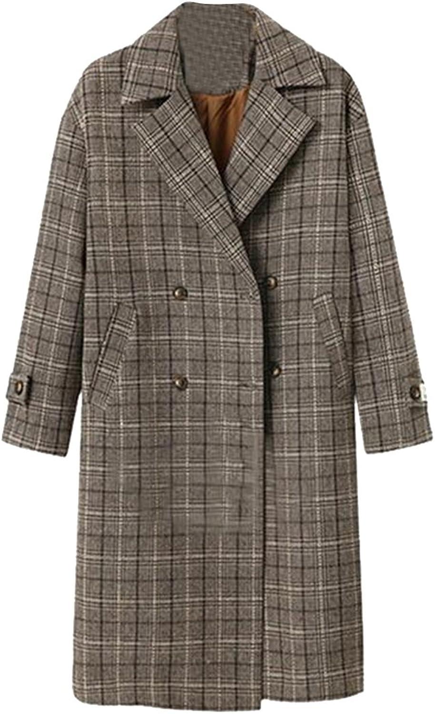 Jofemuho Womens Plus Size Plaid Double Breasted Loose Long Trench Pea Coat Jacket Overcoat
