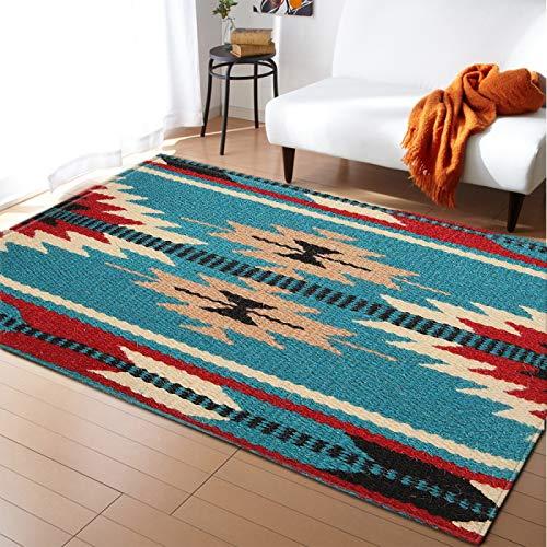 DRTWE Moderno hogar decoración Alfombra Antideslizante Sala de Estar Dormitorio Cocina Piso Mat Vintage Nordic Azul Floral patrón alfombras Pasillo Corredor Rectangular, 120 * 160cm