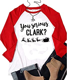 You Serious Clark T Shirt Women Christmas Red Truck Tree Raglan Long Sleeve O Neck Splicing Baseball Tops Tee