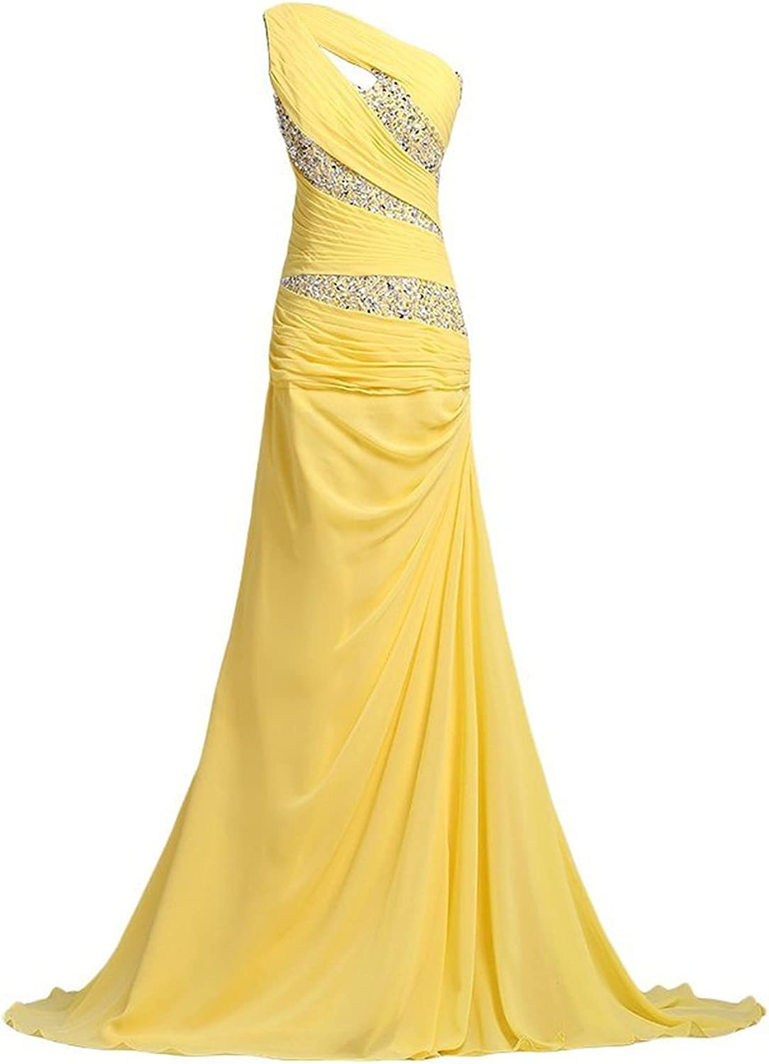 SDRESS Women's Beaded Sequines One Shoulder Sweep Train Prom Homecoming Dress