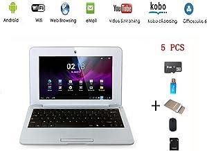 G-Anica® Netbook Ordenador portátil Android 4.4 (WIFI, 1.5GHz 512MB de RAM, 4GB de disco duro),Bolsa de ordenador portátil+Ratón+Adaptar+Tarjeta SD+Lector de tarjetas(5 PCS Accesorios) (Plata,10 inch)