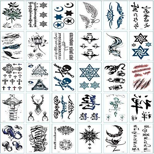 Tatuaje temporal para hombres y mujeres tatuaje impermeable moda arte corporal pegatinas, pegar donde quieras, 30 cartas estilo calavera pequeño diablo