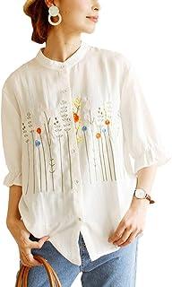 (sawa a la mode)サワアラモード レディース マオカラ―でポップ 刺繍 柄 シャツ mode-0579 F ホワイト