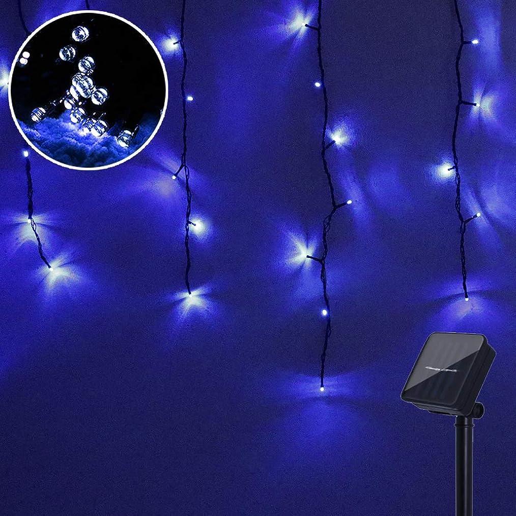 通り抜ける麻痺させる無許可LED ソーラー イルミネーション つららライト 120球 6色 点灯8パターン 太陽発電 防雨 屋外 クリスマス 自動ON/OFF (ブルー)