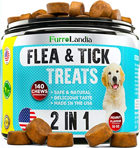 FurroLandia Chewable Flea & Tick Treats for Dogs - Natural Flea and Tick Supplement for Dogs - No Chemicals | No Mess | No Collars | USA Made - Peanut Butter Flavor