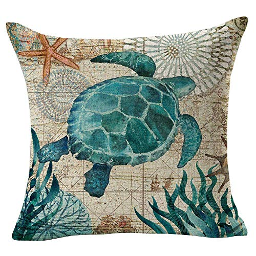 phjyjyeu Throw Pillow Covers,Pillowcase Retro Cushion Sofa Living Room,Invisible Zipper Cushion Covers for Bed Sofa Couch Decoration,18x18 Inches,1pcs #1 Sea Turtles 16' X 16'(IN)