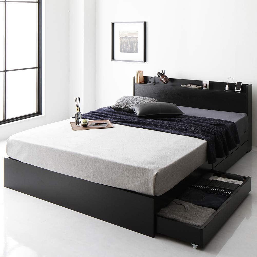 ベッド 収納付き 引き出し付き 木製 棚付き 宮付き コンセント付き シンプル モダン ブラック シングル ベッドフレームのみ 『Absol』 アブソル