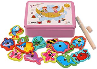 Opla3Ofx Puzzle Toy Magnetic Fishing Catching Bugs Set, Baby Bath Fun Floating Toys Fishing Game With Cute Fish And Fishin...