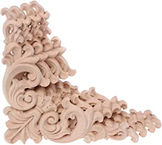 puhoon 4pcs/Set Wood Carved Corner Onlay, Round Flower Frame Unpainted, Cupboard Furniture Decoration, 12x12cm
