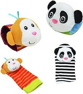 Mine Tom, Minetom Par Calcetines Peluche Sonajero Color Naranja Juguete para Bebés Infantil Correa de muñeca + Calcetines B Una Talla