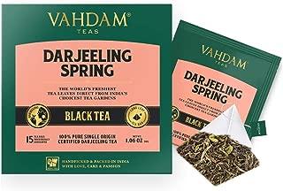 VAHDAM, Exotic Darjeeling First Flush Tea Leaves,15 Tea Bag (PACK OF 2), Long Leaf Pyramid Darjeeling Tea Bags, Aromatic & Flowery, 100% Pure Unblended First Flush Darjeeling Tea, Packed in India