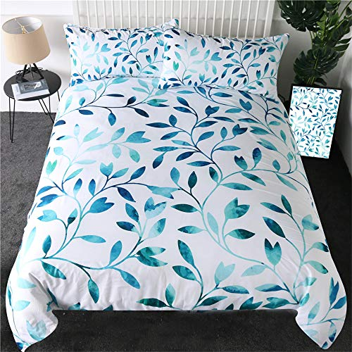 Bedding Set Plant Leaves Duvet Cover Blooming Vines Bed Set 3-Piece Watercolor Botanical Bedspread,228cmx228cm