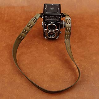 Cam-in Adjustable Real Leather Shoulder/Neck Strap for Rollei Rolleiflex Camera - Olive Color