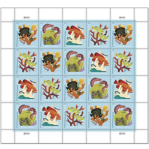 Coral Reefs Postcard Rate Sheet of 20 Stamps