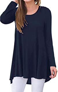 SimpleFun Womens Long Sleeve Tunic Tops for Leggings Round Neck Swing Flowy Shirts