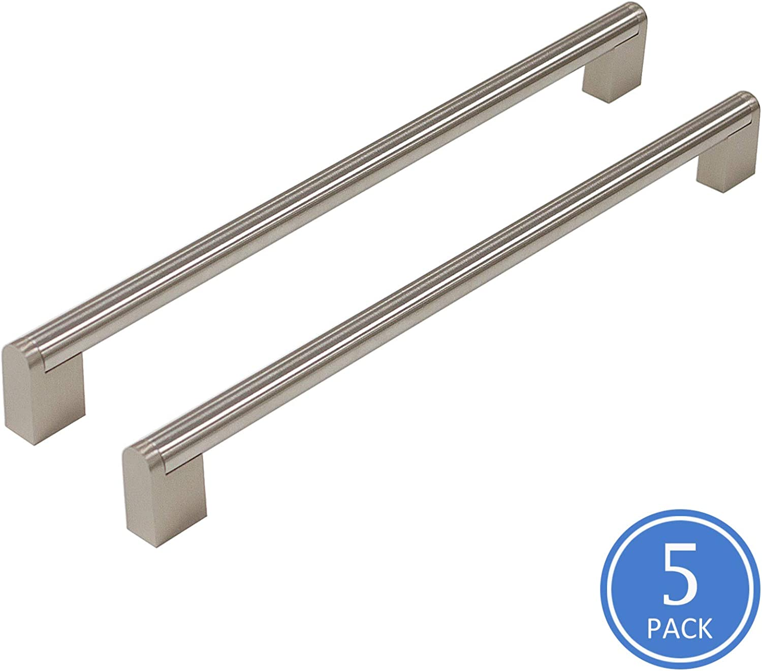 5 Pack 288mm(11-1 2inch) Hole Centers Diameter 14mm Stainless Steel Boss Bar Kitchen Cabinet Door Handles and Pulls Cabinet Knobs Brushed Nickel