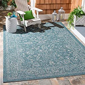 Safavieh Courtyard Collection CY8680 Indoor/ Outdoor Non-Shedding Stain Resistant Patio Backyard Area Rug, 5'3″ x 7'7″, Turquoise