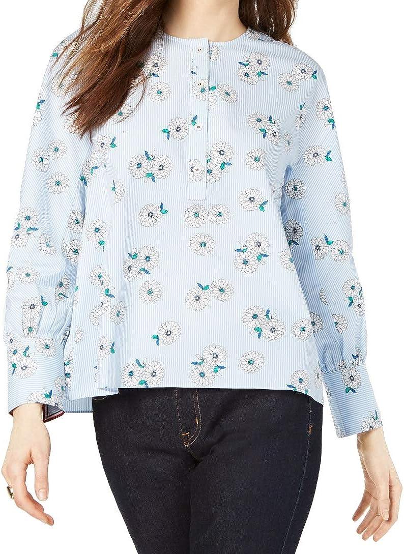 Tommy Hilfiger Women's Blouse Medium Pinstripe Floral Button Down Blue M