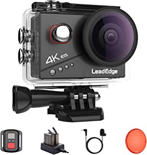 LeadEdge action cam 4K 20MP EIS Anti-Shaking Stabilizzazione Microfono Esterno Videocamera Wifi 2.0'' IPS 4K/30FPS 1080P/6...