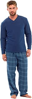 Mens Thermal Fleece Top & Cotton Brushed Bottoms Pyjamas by Tom Franks HT735 Navy M