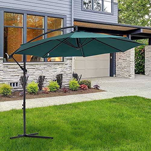 ZYFWBDZ Sombrilla de jardín, para Todas Las Estaciones, gazebos, sombrilla de 3 M, sombrilla para el Sol, sombrilla Colgante de ratán en voladizo para Exteriores,Verde