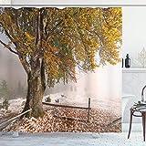 Cortina de ducha de hojas, abedules, un gran árbol en la primera caída de nieve, nieve, diciembre, tormenta de nieve, naturaleza congelada, tela de tela, decoración de baño con ganchos, verde blanco