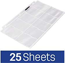 AmazonBasics Plastic Business Card Holder Protector Pages for 3-Ring Binder, 25-Pack