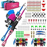 TQONEP Kids Fishing Pole, Portable Telescopic Fishing Rod and Reel Combo Kit with Spincast Fishing...